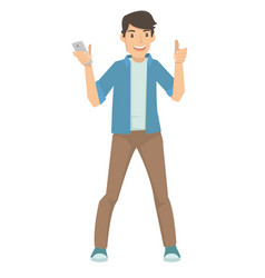 happy young male showing his smart phone vector image