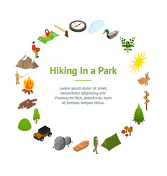 hiking in a park concept banner card circle 3d vector image