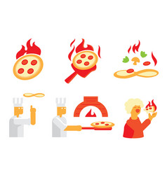 hot pizza fresh cooking in restaurant vector image