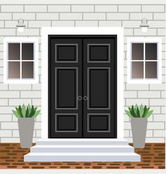 House door front with doorstep and steps widow vector