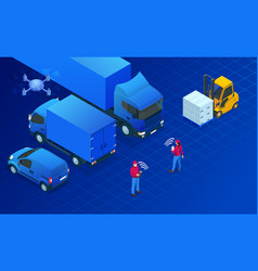 Isometric logistics automation concept delivery vector