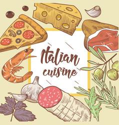 Italian cuisine food menu design template vector