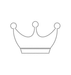 king crown sign black dotted icon on vector image