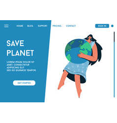 Landing page save planet concept vector