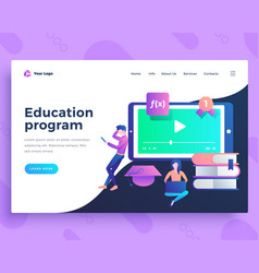 landing page template education program concept vector image