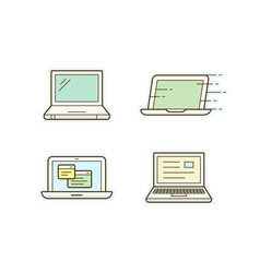 laptop icons vector image