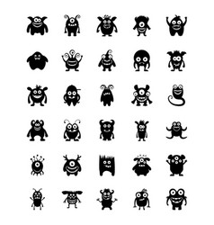 Monster characters glyph icons vector