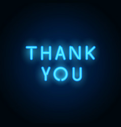 neon thank you realistic letters vector image