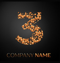 number three logo gold dots alphabet logotype vector image