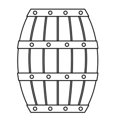 old wooden barrel icon outline style vector image