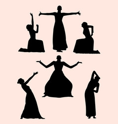 Opera and theater gesture silhouette 02 vector
