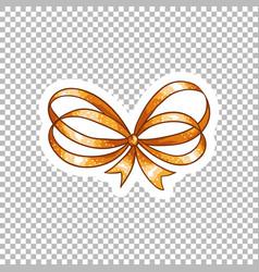 orange bow hand drawn on transparent vector image