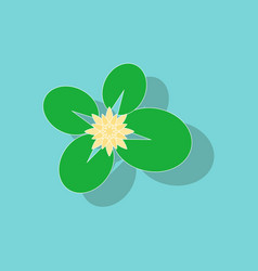 Paper sticker on background of water lily vector