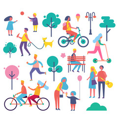 Park full of people icons set vector