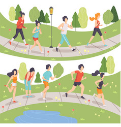 people running in summer park set young men and vector image