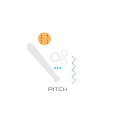pitch bat sport game strategy concept line style vector image