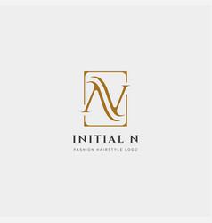 Premium n logo in gold color beautiful logotype vector