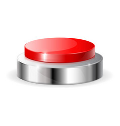 Red push button with metal frame vector