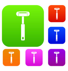 Reflex hammer set color collection vector