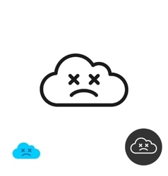 Sad cloud icon linear style vector