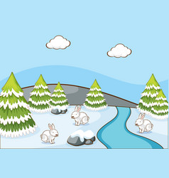 Scene with rabbits in winter vector