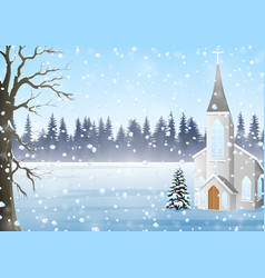 scenery winter in church go down snow vector image