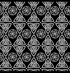 seamless monochrome celtic symbols vector image