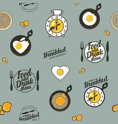Seamless pattern on theme breakfast vector