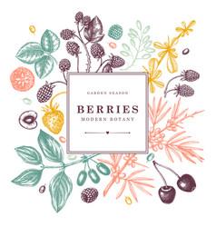 Seasonal berries wreath design hand drawn fruits vector