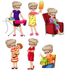 Set grandmother doing different activities vector
