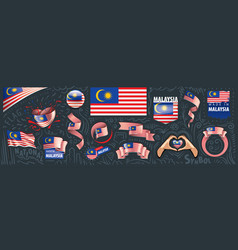 set national flag malaysia in vector image