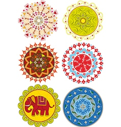 Set of colored Indian mandalas and patterns vector