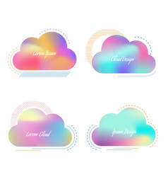 set of creative cloud with bright blurred vector image