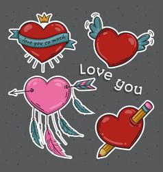 Set of hearts love you symbols vector