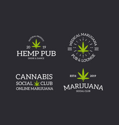 set retro vintage marijuana leaf cannabis logo vector image