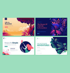 set web page design templates for beauty vector image