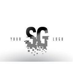 Sg s g pixel letter logo with digital shattered vector