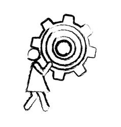 Sketch of woman holding a pinion vector