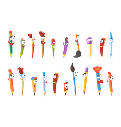 smiling pen pencils and brushes set of animated vector image