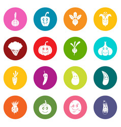 smiling vegetables icons many colors set vector image