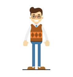 Smiling young student in shirt pullover and pants vector