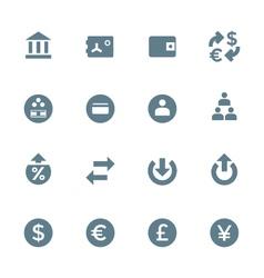 solid grey various financial banking icons set vector image