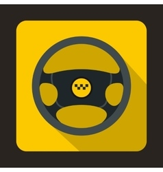 Steering wheel of taxi icon flat style vector image