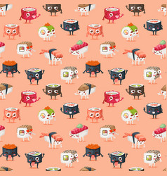 sushi character food seamless pattern vector image