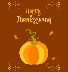 thanksgiving card with pumpkin isolated vector image