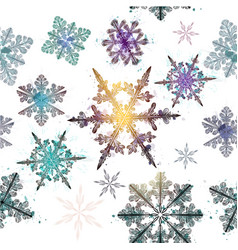Wallpaper pattern with hand drawn shiny snowflakes vector