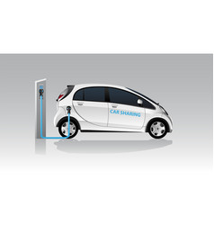 White carsharing electric car vector