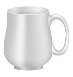 White empty mug mockup realistic style vector