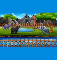 Wild animals enjoying in savanna vector