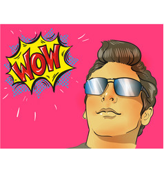 Wow pop art male face young sexy surprised man in vector